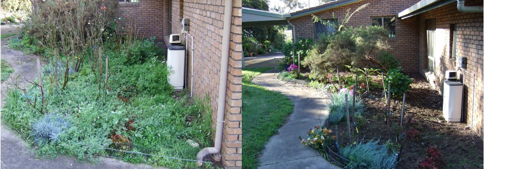 Before and After gardening work outside Mt Gambier